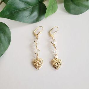 ⭐3/$20 Beaded Gold Plated Heart Dangling Earrings